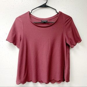 Topshop Scalloped Hem Burgundy Top US 4